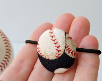 Baseball fabric covered button hair elastic - single pony tail holder - 29mm button - blue