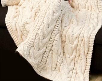 Knitting pattern aran blanket throw afhgan PDF Instant Download Nr.207