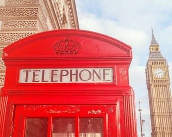 London Phone Booth - Big Ben Print - London Phone Box - London Photography - London Photograph - London Photo - Big Ben Photo - London Print