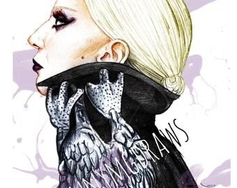 Lady Gaga A5 Portrait Print