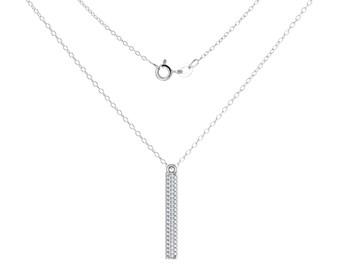 Triple Diamond Row Bar Pendant, Solid gold jewelry, Delicate Jewelry