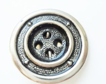 Vintage 20mm Silver Metal Ringed Textured Buttons - Set of 3
