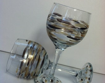 Hand painted wine glasses- set of two