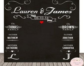 Digital Chalkboard Wedding Backdrop Photo Custom Photobooth
