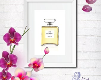 Coco Chanel Perfume Bottle, Illustrazione moda, Wall decor home and office, Printable poster, Greeting Card, gift