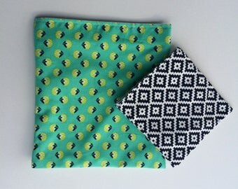Green and Blue Reusable Sandwich and Snack Bag Set