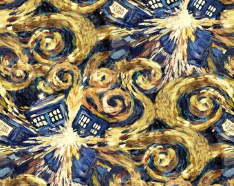 Dr. Who Fabric, Doctor Who Exploding Tardis Cotton Fabric, Doctor Who Tardis 100% Cotton Fabric by the Yard