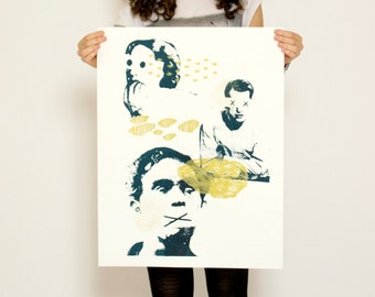 Golden silk-screened poster