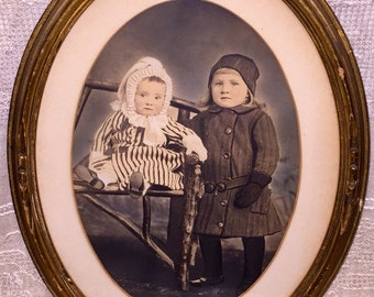 Antique Late Victorian Era Hand Colored Tinted Framed Photograph of Children