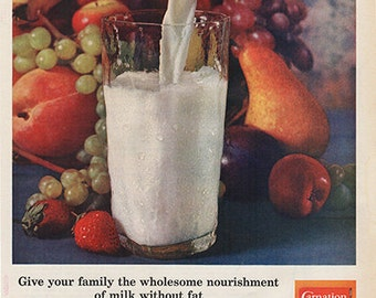 Antique 1963 Carnation Dry Instant Milk Original Print Ad