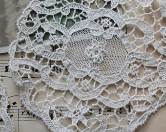 1 small french old doily, shabby chic decor, shabby french,