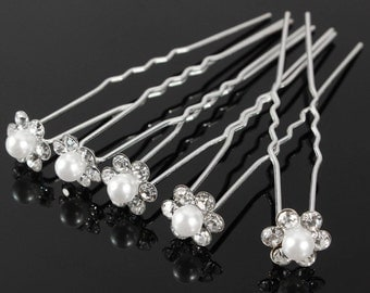 Rhinestone hair pins, wedding hair pins, decretive pins, rhinestone and silver pins