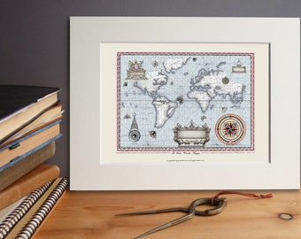 New World Map (print unframed)