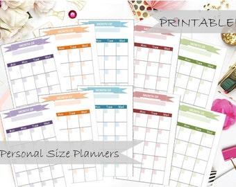 Undated PRINTABLE Monthly Calendar Planner Inserts - Filofax Personal, Kikki K Medium, 3.75x6.75in