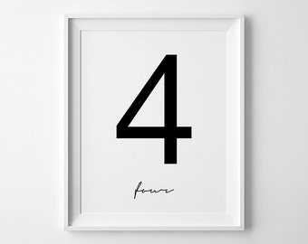 The Number 4, Printable Numbers, Number Four Print, Scandinave Affiche, Four Poster, Number 4, Number Art, Symbol Prints