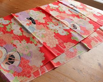 Vintage kimono fabric Red tsuzumi daiko – 1
