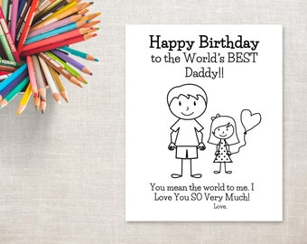 Birthday Coloring Printable Girl Dad Card To Daddy From Daughter