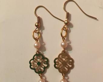 Gold Colored Flower Earrings