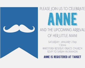 Mustache Baby Shower Invitation PRINTABLE