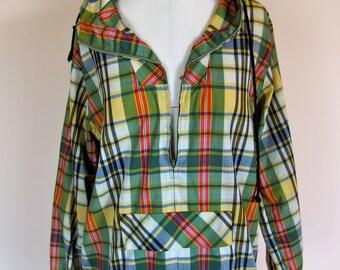 vintage 1960s  70s lightweight jacket parka collegiate plaid bobbie brooks size Medium