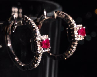 18k white gold with diamonds and rubies earrings