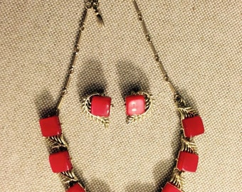 Coro necklace and earring set