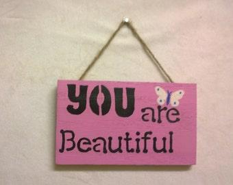 Hanging wood plaque- Pink