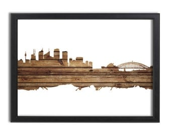 Sydney Skyline Abstract- wood, iconic, harbour, cityscape, Poster, home decor, wall art, canvas