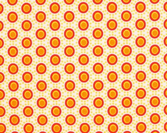 Retro points (orange) - cotton fabric with points - 0, 5m