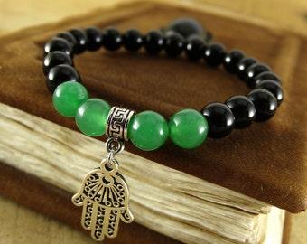 Mens yoga bracelet Yoga jewelry Protection bracelet Yoga gift Mens energy bracelet Hamsa bracelet Good luck bracelet Hamsa charm bracelets
