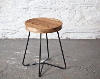 Modern Side Table with English Walnut top and steel base