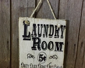 LAUNDRY recycled timber sign