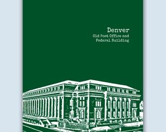 Denver Art Print, Denver Wall Art, Denver Skyline, Wedding Gift, Denver Colorado Art,  Denver Poster,  Denver Decor,  Denver Print
