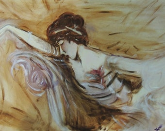 """Unframed Original Oil Painting on Canvas """"A Small Repose"""""""