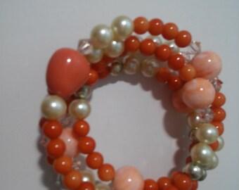 Coral Color Vintage Bead Coil Bracelet