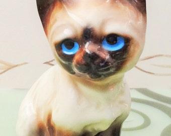 Blue Eyed Siamese Cat Figurine