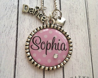 Girls personalized dance necklace