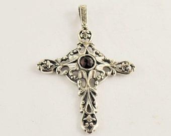 Vintage Sterling Silver Cross with center Bohemian Garnet
