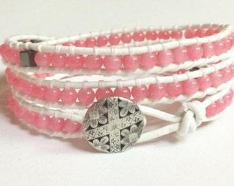 Leather Wrap Bracelet, Summer Pink Beaded Leather Triple Wrap Bracelet