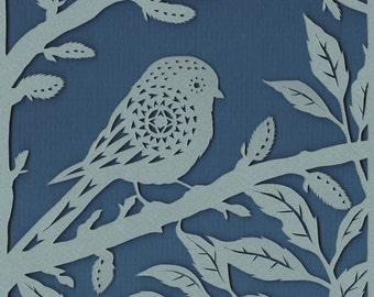 Bird papercut - Longtailed Tit in Foliage - print from an original handmade art work.