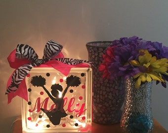 Personalized Cheerleader glass block night light