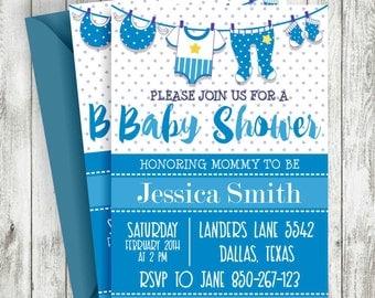 Boy Baby Shower Invitations, Blue Baby Shower Invitations, Printable Baby Shower Invitations, Baby Shower