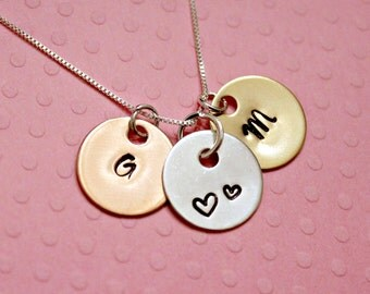 Initials Neckalce - Stamped Necklace - Customized Necklace - Mothers Necklace - Personalized Necklace