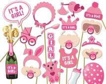 Baby Shower Photo Props - It's a Girl Photo Booth Props - Printable Photo Booth Props - Baby Girl Printable Party Props - 0168