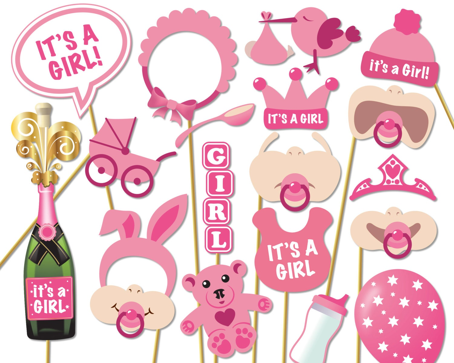 baby shower photo props it 39 s a girl photo booth props