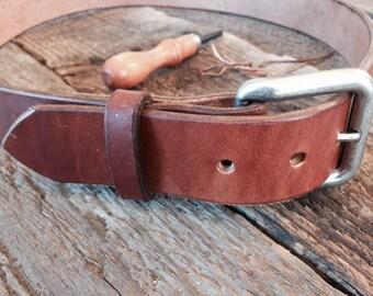 """Handmade Heavy Duty 13 oz. Top Grain Leather Belt 1 1/2"""""""