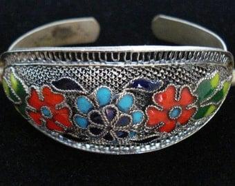 Chinese Cuff Bracelet Enamel and Filigree Flowers. Asia Ethnic, Tribal. Hippie, Boho.