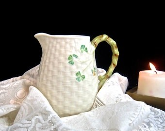 BELLEEK pitcher shamrock  basket weave 7th mark dates from 1/4/80 thru 12-22-92