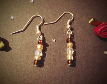 Brown & Gold Beads silver plated dangle earrings