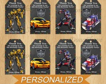 Transformers Favor Tag ,Favor Bag Toppers, Transformers Thank You Tags, PERSONALIZED, Digital File